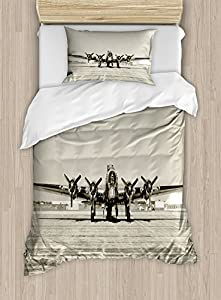 Airplane Decor Duvet Cover Set by Ambesonne, World War II Era Heavy Bomber Front View Stained Old Photo Flying history Takeoff Aeronautics, 2 Piece Bedding Set with 1 Pillow Sham, Twin / Twin XL Size
