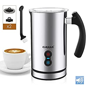 CHULUX Electric Milk Frother,Warmer and Heater 3-in-1 with Four Whisks,Soft Foam for Coffee,Cappuccino,Latte and Hot Chocolote,Auto Shut-Off and Strix Temperature Control
