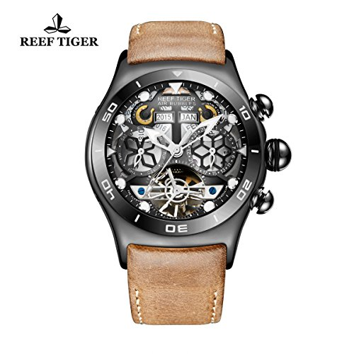 Reef Tiger Luminous Sport Watches Mens Black Steel Skeleton Dial Tourbillon Watch RGA703 - Skeleton Movement