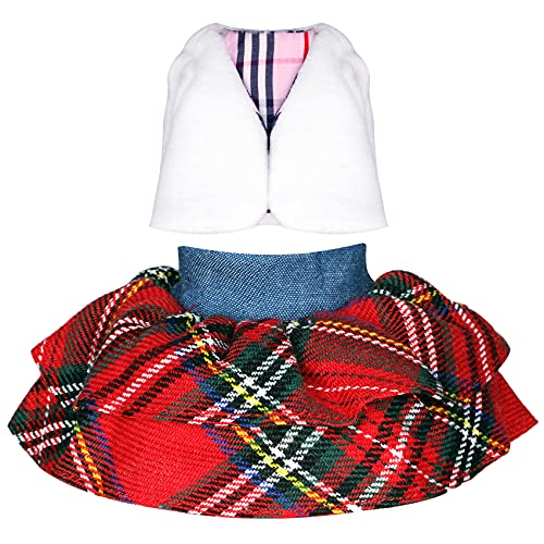 Erweicet Santa Couture Cloth Elf Couture Clothing for Elf Doll Christmas Accessory Set (Fluffy Vest and Plaid Skirt)