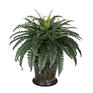 House of Silk Flowers Artificial Fern in Metal Planter 71