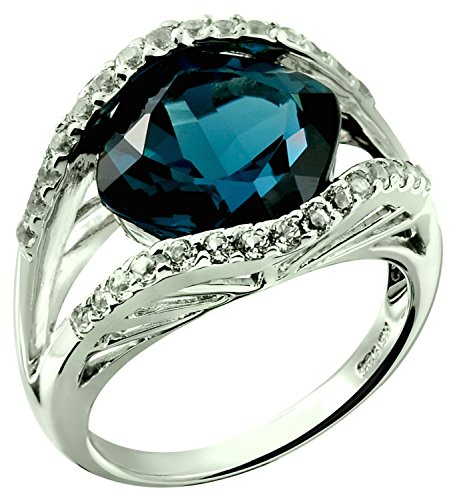 Sterling Silver 925 STATEMENT Ring GENUINE LONDON BLUE TOPAZ 7.62 Carats with RHODIUM-PLATED Finish (8) by RB Gems