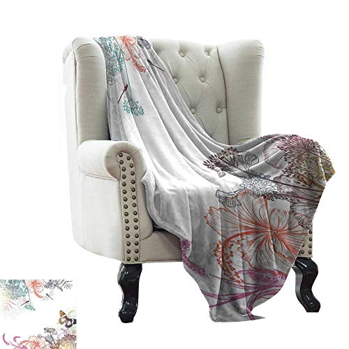 (RenteriaDecor Soft Blanket Twin Size Claire,Pastel Toned Colorful Arrangement of Fairy Tale Elements with Magic Wands and Wings,Multicolor 80