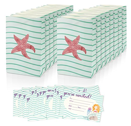 Girls Birthday Party Invites Invitations Fill In Style & Goodie Treat Bags - Mermaid Sea Theme - Includes 16 Pack Invitations 6 x 4 Inches & 16 Piece Party Favor Bags for Girls 6 x 9.5 Inches (Mermaid Themed Party Ideas)