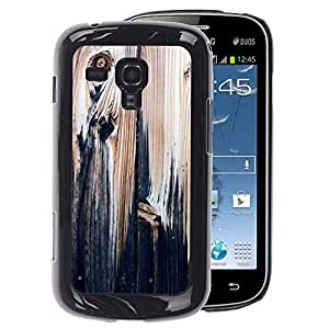 A-type Arte & diseño plástico duro Fundas Cover Cubre Hard Case Cover para Samsung Galaxy S Duos S7562 (Wood Texture Black Paint Rustic Vintage)