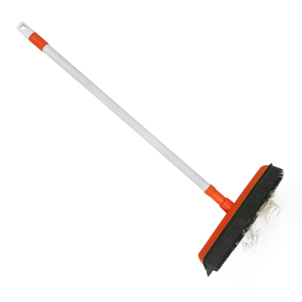 Rubber Bristles Push Broom with Long Handle Carpet Brush Squeegee Broom Cleaning for Dog/Cat Hair (Orange)