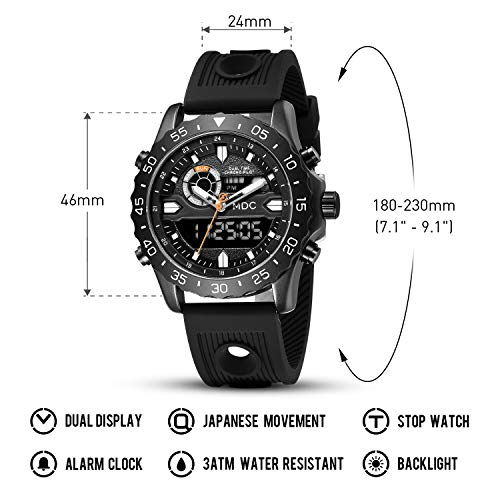 Big Face Military Tactical Watch for Men, Mens Outdoor Sport Wrist Watch, Large Analog Digital Watch - Dual Display… 6