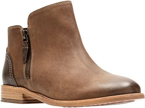 Clarks Women's Maypearl Juno Ankle Bootie, Brown Leather, 6.5 M US by CLARKS
