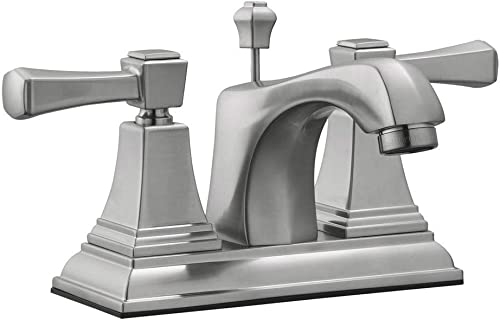 Design House 521997 Torino Centerset Bathroom Faucet, Satin Nickel, 4-Inch