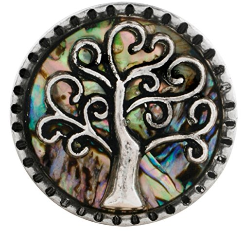 Shell Button Bracelet - Rockin Angels Silver Green Black Iridescent Shell Tree of Life 20mm Snap Charm For Ginger Snaps Magnolia