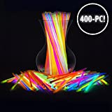 PartySticks Glow Sticks Bulk 400 Count - 8'' Brand Premium Glow in The Dark Light Sticks - Makes Tons of Glow Necklaces and Glow Bracelets (4 Tubes of 100)