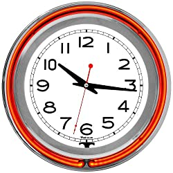 Trademark Gameroom Orange Chrome Double Ring Neon Clock, 14