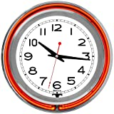14 inch Double Ring Neon Clock Orange Outer White Inner