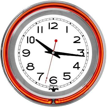 Gameroom Orange Chrome Double Ring Neon Clock - Orange home decor - Orange wall clocks