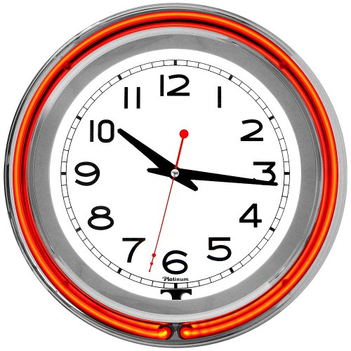 14 inch Double Ring Neon Clock Orange Outer White Inner by Trademark Global