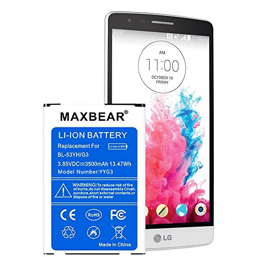 LG G3 Battery,MAXBEAR 3500mah Replacement Li-ion Battery for LG G3 BL-53YH,D851(T-Mobile), VS985(Verizon), LS990(Sprint), D850(AT&T),D855 Phone | G3 Spare Battery [12 Month Warranty]