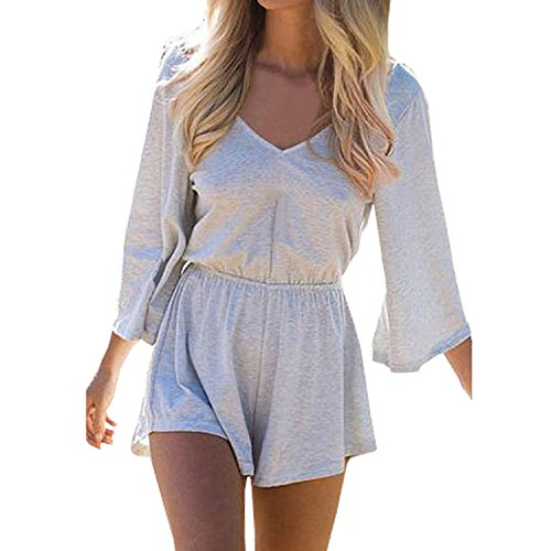 SUNNOW Women's Sexy Long Sleeves V Neck Backless Short Romper Jumpsuit (Asian M=US(4), -