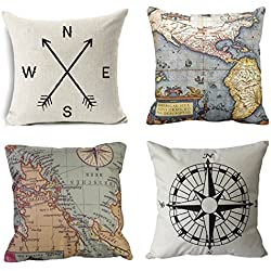 Wonder4 Geography Theme Throw Pillow Covers Home Decorative Map Art Throw Pillow Cases Couch Covers Decoration,2X Maps +1x Compass + 1x Navigation Compass 18 X 18 Inch for Home Sofa Bedding Set of 4