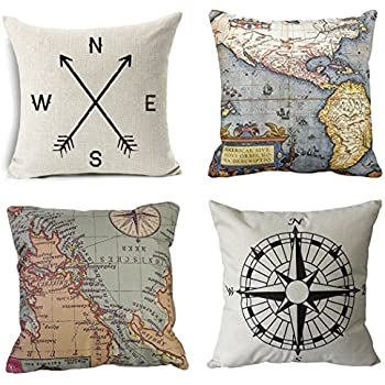 Wonder4 Geography Theme Throw Pillow Covers Home Decorative Map Art Throw Pillow Cases Couch Covers Decoration,2X Maps +1x Compass + 1x Navigation Compass for Home Sofa Bedding Set of 4 (18