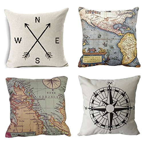 Wonder4 Geography Theme Throw Pillow Covers Home Decorative Map Art Throw Pillow Cases Couch Covers Decoration,2X Maps +1x Compass + 1x Navigation Compass 18 X 18 Inch for Home Sofa Bedding Set of 4 (Decor Pillows)