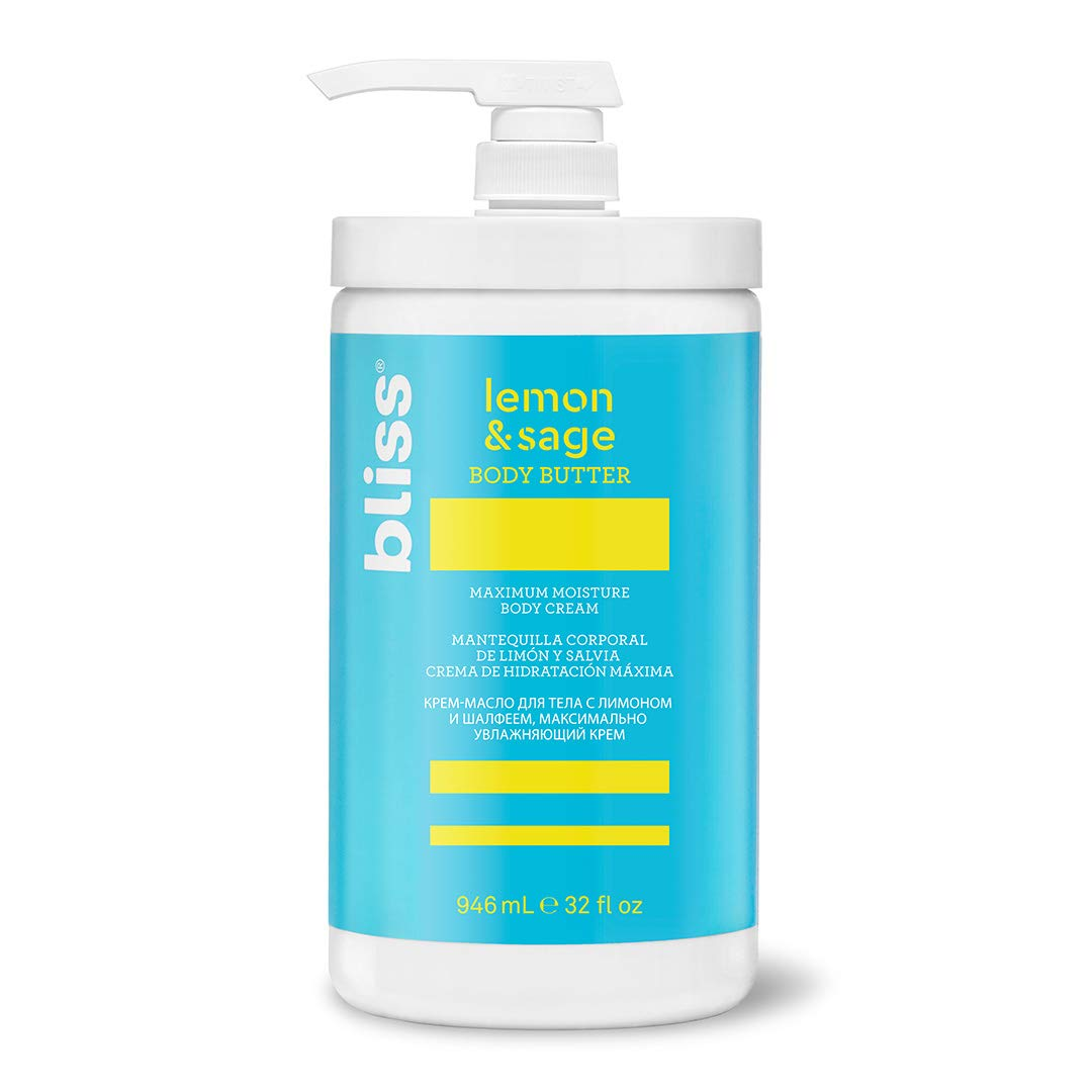 Bliss Lemon & Sage Body Butter Daily Moisturizing Cream for Dry Skin - Quick Absorbing, Long Lasting and Free of Paraben and Sulfates, 100% Vegan  and Deeply Nourishing, 32 oz