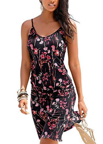 Jusfitsu Women's Summer Casual Dress Strappy Cotton Midi Beach Dresses Print Flare Beachwear Stretchy BlackFloral XL ()