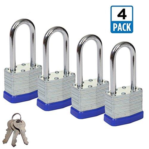 Shackle Laminated Steel Padlock - SEPOX 40mm Keyed Alike Laminated Steel Padlock with Long Shackle, 1-9/16