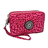 Ladies Fashion Small Card Case Wallet Change Coin Purse Pouch Bag with Zipper, Leopard Rose