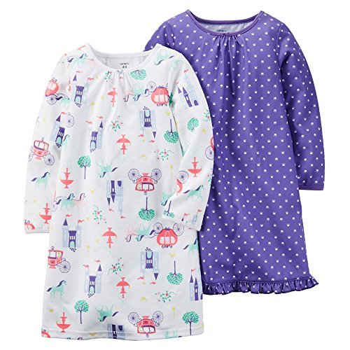 Carter's Girls' 2-Pack Princess Jersey Sleep Shirts (4/5,...