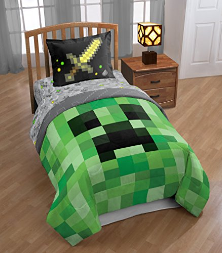 Cube Comforter Set (TN 2 Piece Kids Grey Green Minecraft Comforter Twin/Full Set, Pixel Themed Bedding Mine Craft Pattern Sword Character Pixels Design Cube Black Video Game, Polyester)