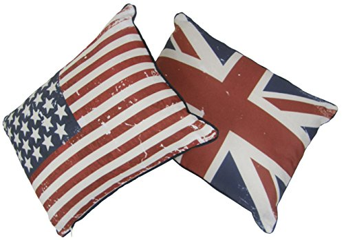 UNION JACK STARS & STRIPES USA FLAG PIPED RED BLUE WHITE 30X40CM FILLED PILLOWS CUSHIONS