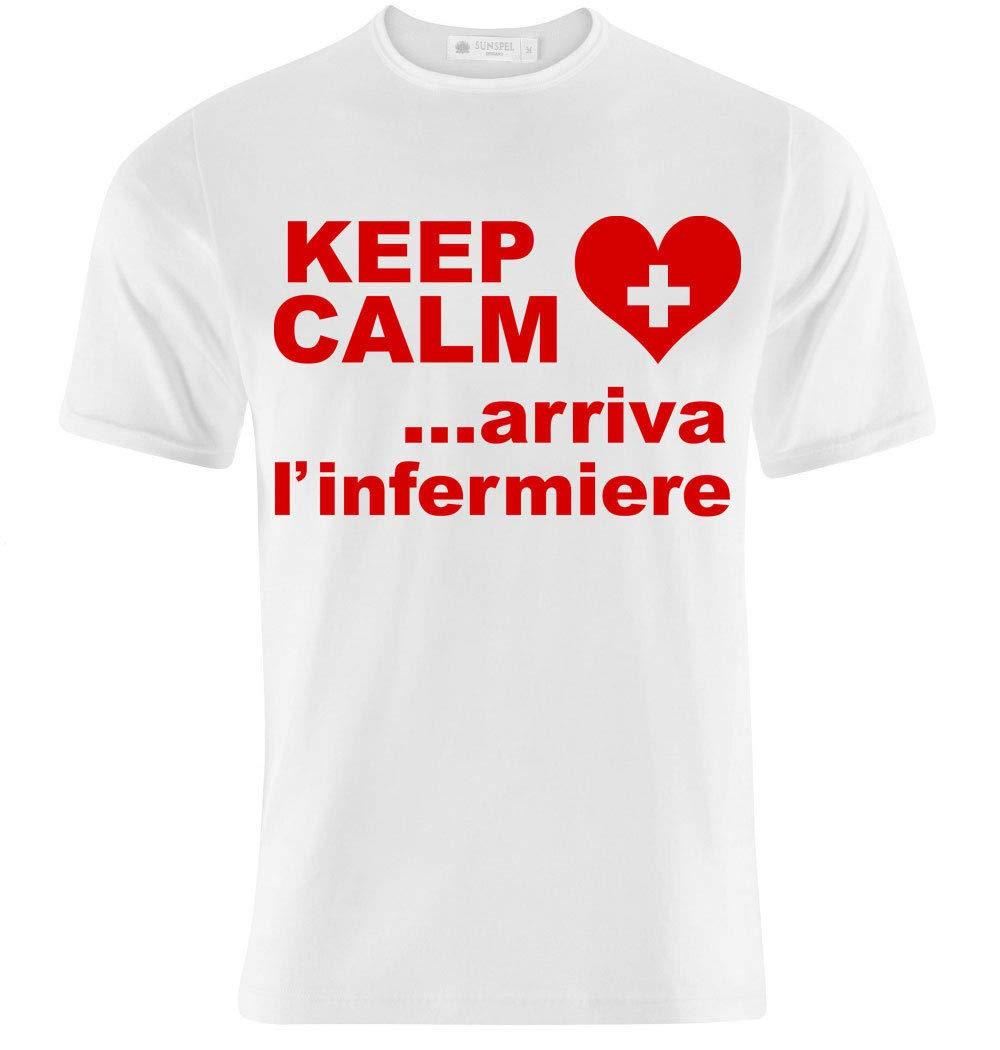 T-shirt uomo Keep Calm arriva l'infermiere, idea regalo laurea infermieristica