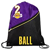 FOCO Los Angeles Lakers Official High End Diagonal Zipper Drawstring Backpack Gym Bag - Lonzo Ball #2