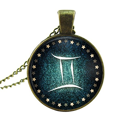 Constellation Necklace Twelve Zodiac Sign Charm Glass Pendant with Bronze Chain Necklace (Gemini)