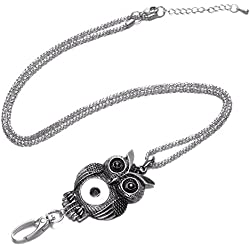 Soleebee 34.3 inches Office Lanyard Snap Button Jewelry ID Badge Lanyard Necklace with Swivel Oval Clasp for ID Badges Keys (Retro Owl)