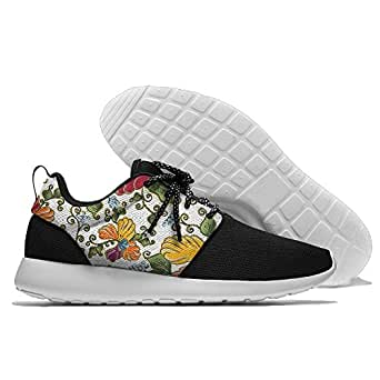 Colorful Flowers Painting Men's Mesh Running Sports Shoes Sneakers Athletic Workout Fitness Trainers 43