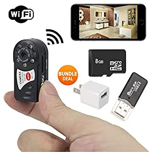 PREMIUM SPY Mini Portable P2P WiFi IP Camera + Bundle 8GB SD CARD + USB Reader. Indoor/Outdoor HD DV Hidden Spy Cam era Video Recorder Security Support iPhone/Android Phone/ iPad /PC Remote View