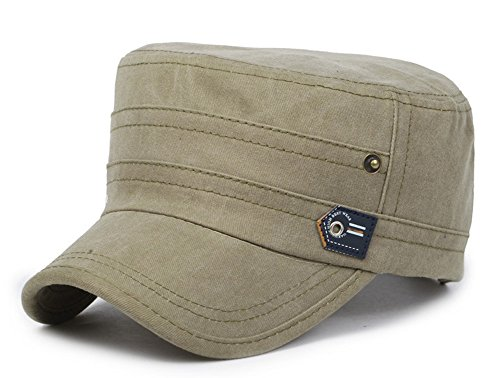 ChezAbbey Men's Washed Cotton Solid Brim Flat Top Cap Adjustable Distressed Cadet Style Classical Military Hat Light Army Green