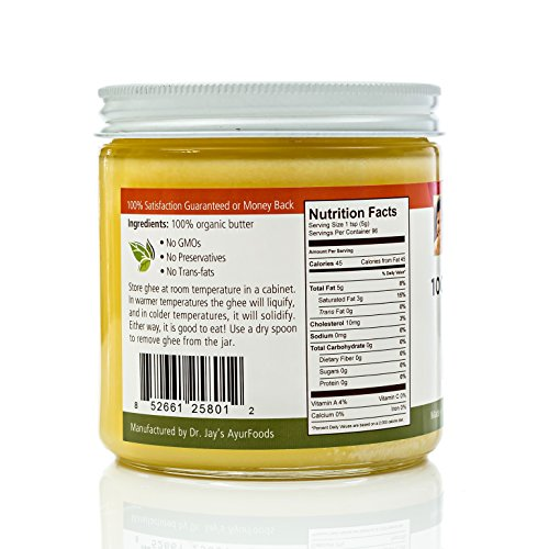 Dr. Jay's 100% Organic Ghee (Grass Fed), 1 Pound Jar, BEST Clarified Butter Artisan Crafted in Small Batches, Pure Non-GMO Ingredients, Tasty Healthy Oil for Paleo, Ayurvedic & Gluten-FREE Cooking by Dr. Jay's Ayurfoods (Image #2)