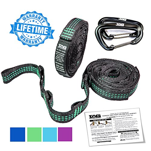 18' Super Strong Kit (TAG XL Hammock Straps with Carabiners - Hammock Tree Straps each 9 ft Long (18 ft total) with 20 Loops (40 Total) - Hammock Straps for Tree Made w/ 100% No Stretch Polyester & Super Easy to Setup)