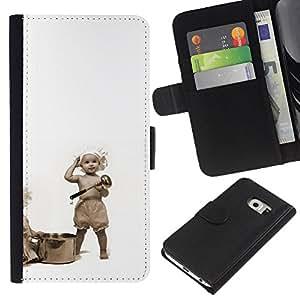 Ihec-Tech / Flip PU Cuero Cover Case para Samsung Galaxy S6 EDGE SM-G925 - Funny Cooking Babies