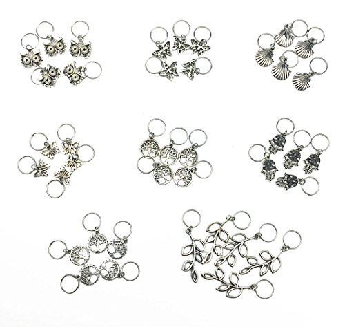 Hyamass 40pcs Antique Silver Ring Owl Butterfly Leaves Life of Tree Hand Scallop Charms Pendant Braid Hair Clip Headband Hair Accessories - Antique Braid Ring