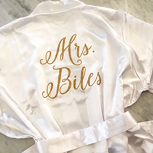 Bride Robe, Wedding Day Robe, Glitter Bridal Robe, Satin Bride Robe by MY everyday design