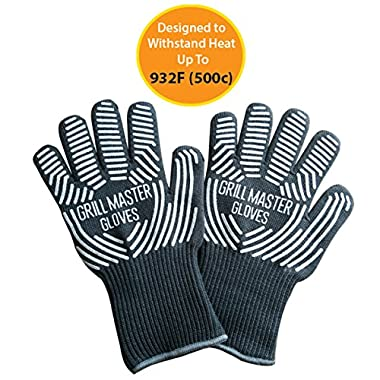 BBQ Gloves Grill Gloves - Heat Resistant Gloves Ideal Oven Grilling Cooking Gloves Rated to 932f by Grill Master (Grey)