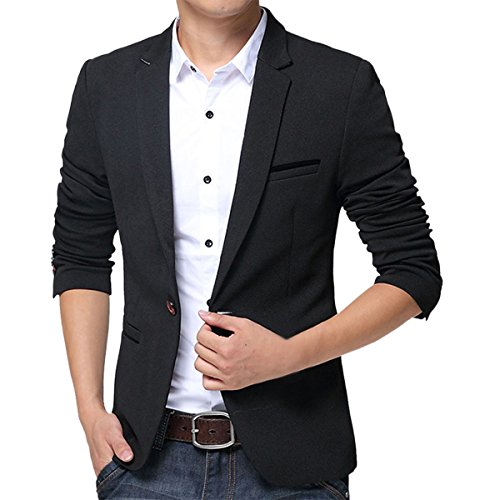 Pishon Men's Slim Fit Suits Casual One Button Flap Pockets Solid Blazer Jacket, Black, Tag Size 4XL=US Size L