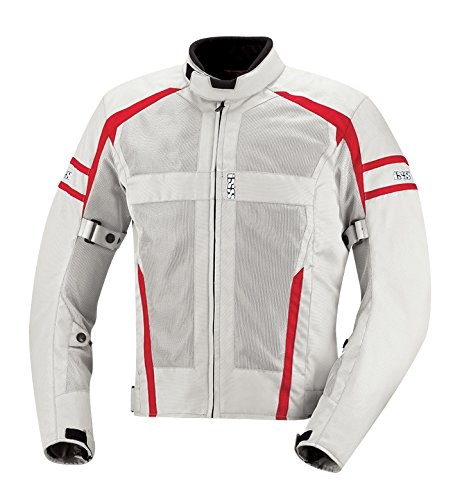 IXS Men's Andover Jacket (Light Grey/Red, X-Large) from IXS