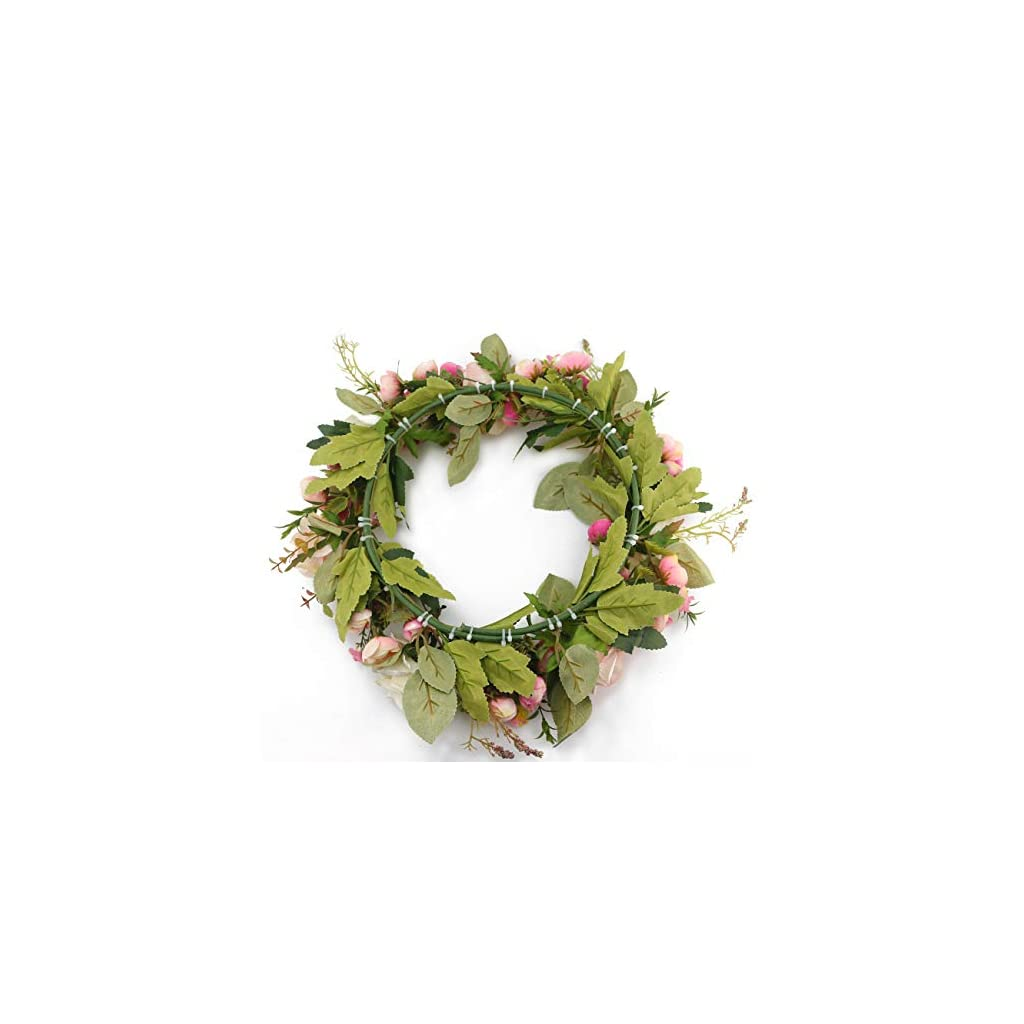 Ogrmar Artificial Flower Wreath/Handmade Floral Artificial Simulation Rose Flowers Garland Wreath for Home Front Door Christmas Wedding Party Decoration (Rose)