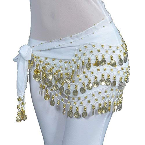 REINDEAR Vogue Style Chiffon Dangling Gold Coins Belly Dance Hip Scarf US Seller (White) (Scarf Coin Belt Belly Dance)