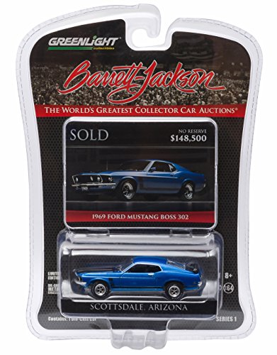 New 1:64 BARRETT-JACKSON SCOTTSDALE EDITION - ACAPULCO BLUE POLY 1969 FORD MUSTANG BOSS 302 Diecast Model Car By Greenlight - 1969 Ford Mustang Boss 302