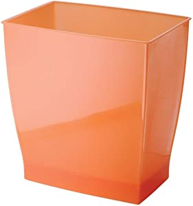 iDesign Spa Rectangular Trash, Waste Basket Garbage Can for Bathroom, Bedroom, Home Office, Dorm, College, 2.5 Gallon, Tango